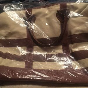 Handbags - Cream & Brown Canvas Tote